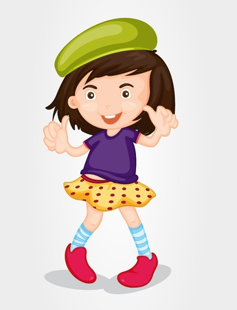 Dancing girl in fashionable clothes Vector