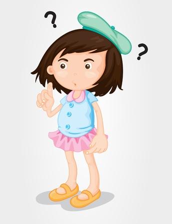 persona confundida: Ilustración de la chica linda en el pensamiento plantean