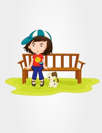banc de parc: Illustration d'une jeune fille assise sur le banc