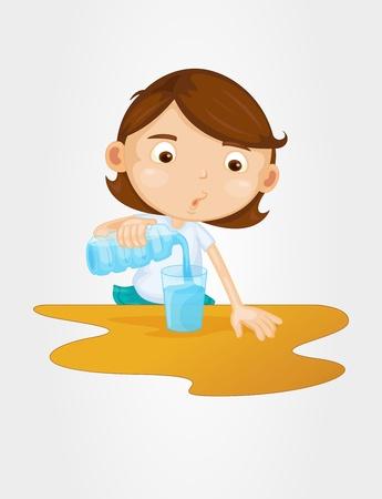 붓는 것: 유리의 귀여운 소녀 물을 붓는