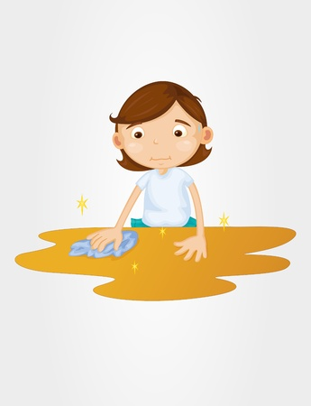 wipe: Girl cleaning table on a white background Illustration