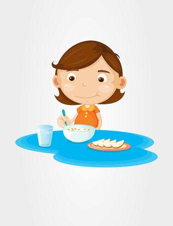 one child: Girl eating cereal and fruit Illustration
