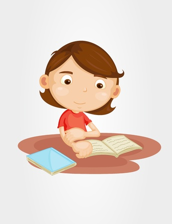 assignments: Illustration of a girl reading Illustration