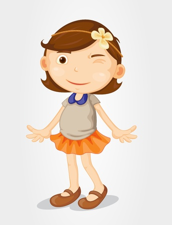 Illustration of a cute girl on white Vector