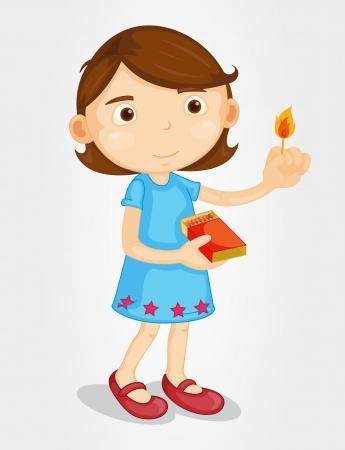 lucifers: Illustratie van een meisje met lucifers