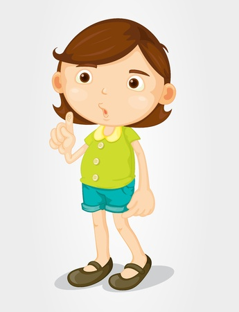 Pretty girl pointing on white background Vector