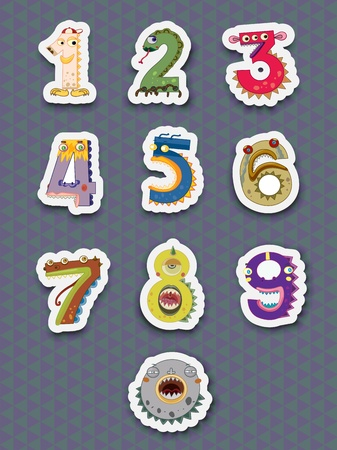 cartoon science: Illustration of number stickers on white
