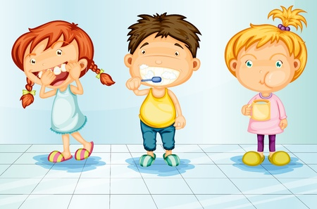 floss: Kids caring for teeth illustration Illustration