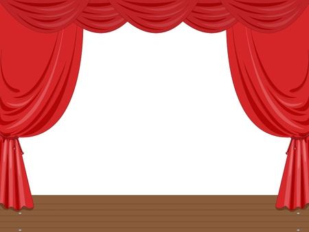 Empty stage illustration with curtains Vector