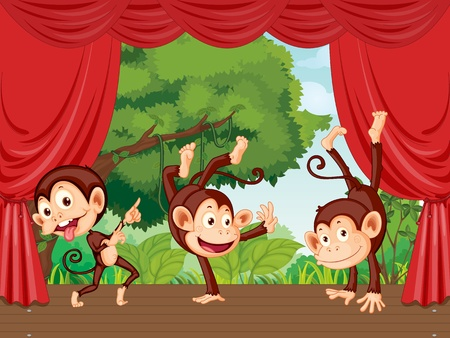 monkey cartoon: The monkeys are on the stage