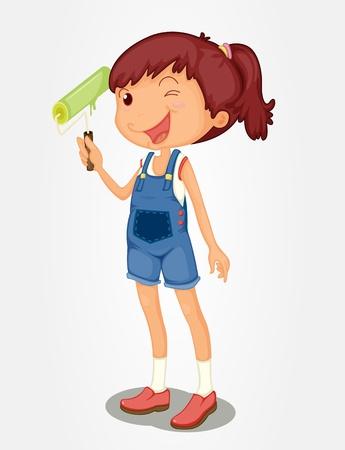 decorando: Chica aislada con un pincel de rodillos Vectores