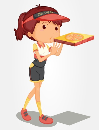 Young girl delivering a pizza Stock Vector - 13233413