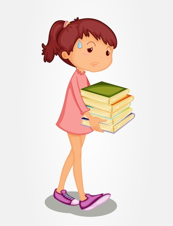 Isolated girl carrying heavy books Vector