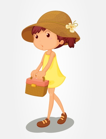 Young girl carrying a basket Stock Vector - 13233446