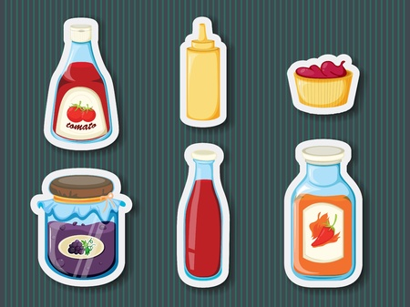 mustard: Illustration of stocker containers on background Illustration