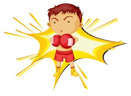 anger kid: Illustrazione di un ragazzo di boxe