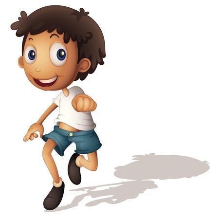 children running: Illustration of a 3D looking boy on white Illustration