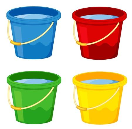 bucket water: Cubos en cuatro colores sobre fondo blanco