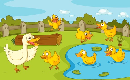 pond water: IIllustration of a family of ducks at the pond Illustration