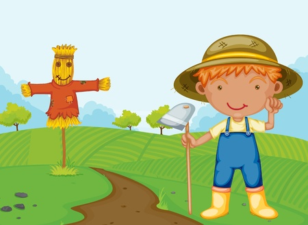 espantapajaros: Ilustración de un chico de granja