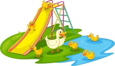 lilly pad: IIllustration of a family of ducks at the park