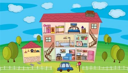 Illustratie op in een huis Vector Illustratie