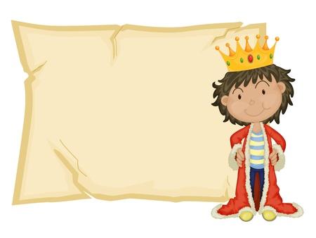 Junge König vor Papier Vektorgrafik