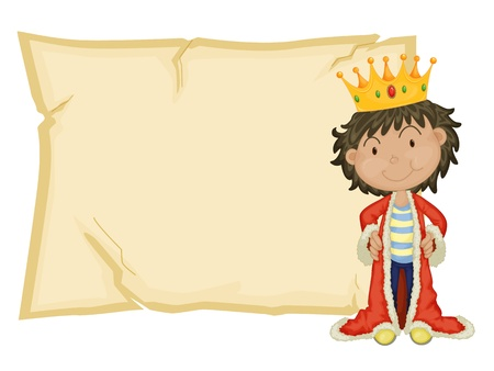 Young king in front of paper Vector