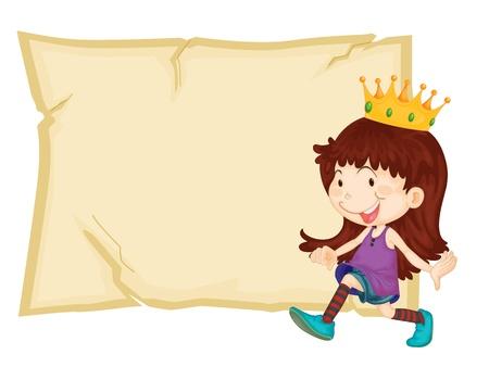 Young queen in front of paper Vector
