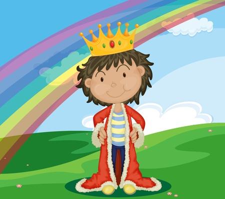 corona rey: Joven rey en un campo con el arco iris