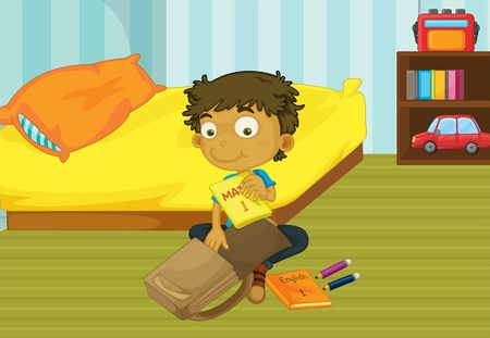 Illustration of a boy packing his schoolbag in his bedroom Vector