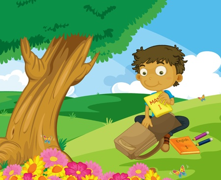 Illustration of boy packing in the park Vector