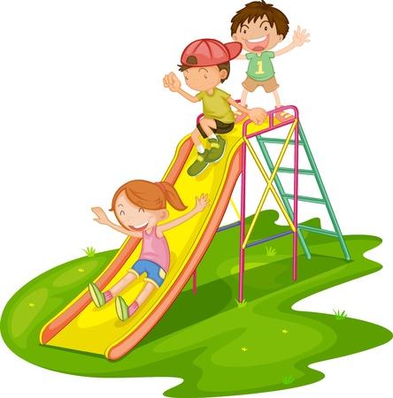 rutsche: Illustration von spielenden Kindern in einem Park