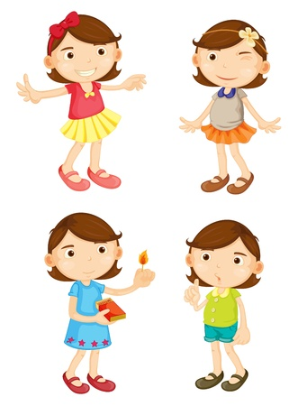 cartoon clothes: Illustration of a girl in 4 poses