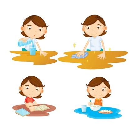 Illustratie van een meisje zitten aan een tafel