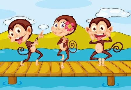 three friends: illustration of 3 monkeys dancing on a pier