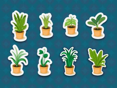 ollas de barro: Ilustración de las plantas en un fondo
