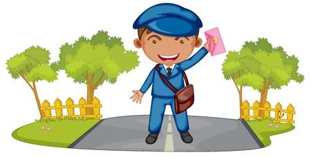 postman: Illustration of a postman Illustration