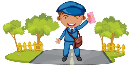 the postman: Ilustración de un cartero