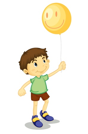 Young boy holding a helium balloon Vector