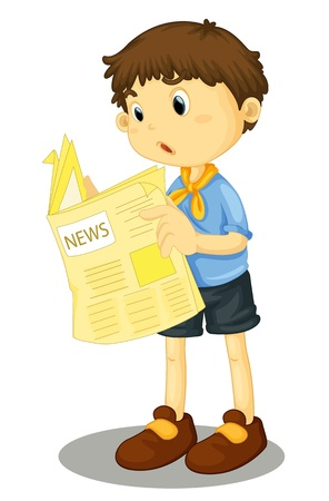 reading news: Illustration of a young boy reading the paper
