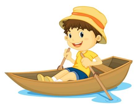 ボートをこぐ若い男の子のイラスト