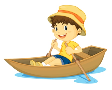 illustration of a young boy rowing a boat Vector