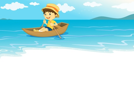 Illustration of a young boy  rowing on the water Stock Vector - 13233395