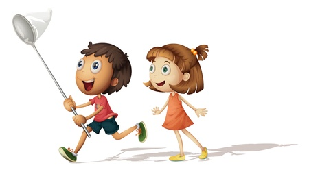 観察: 少年と少女と蝶のネットのイラスト  イラスト・ベクター素材