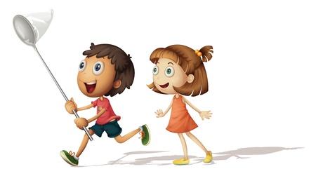 catch: Illustrazione di un ragazzo e una ragazza con un retino per farfalle