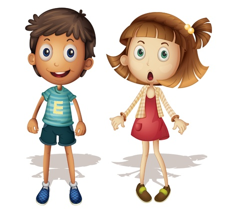 scared man: Illustration of a detailed boy and girl