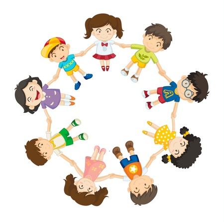 Illustration of a ring of children Stock Vector - 13249386