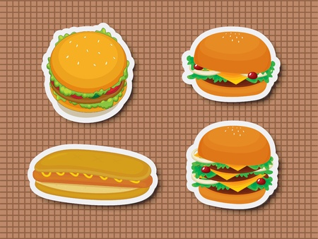 Illustration of fast food stickers Vector