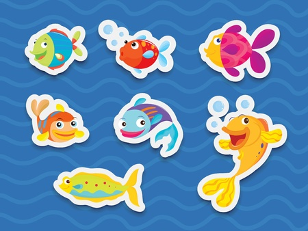 Illustration of mixed fish stickers Vector